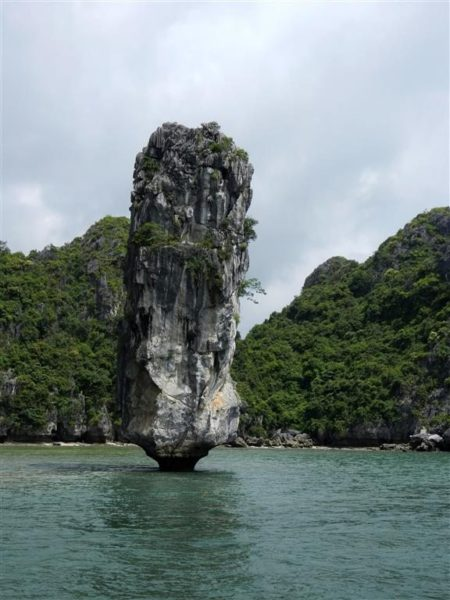 Halong Bay rising rock