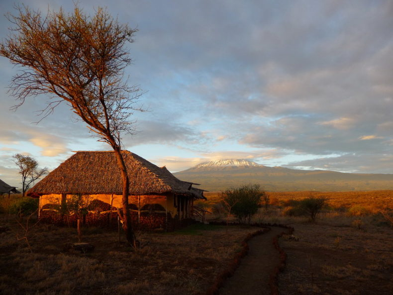 lodge bij Kilimanjaro in Kenia